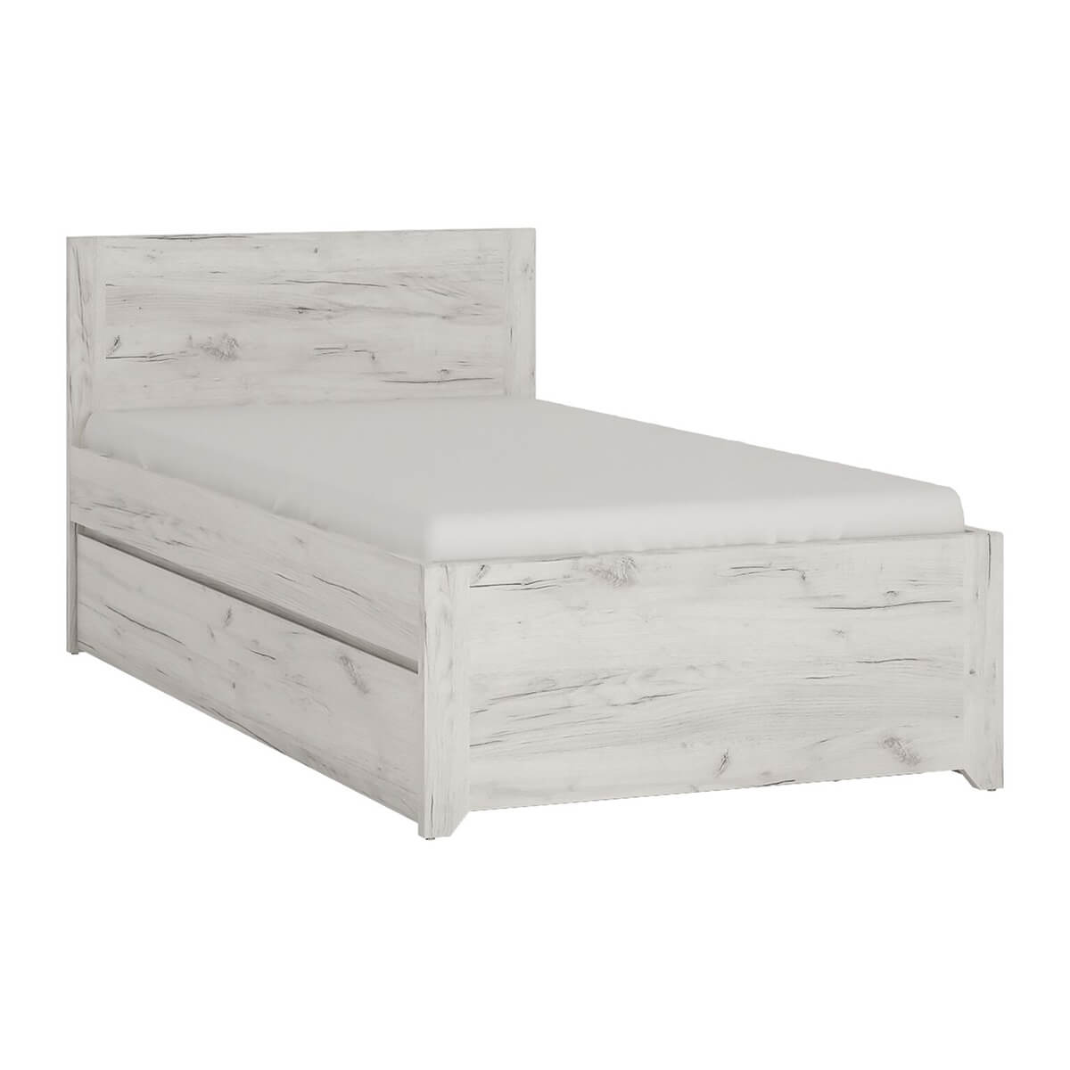 Starlight Kids Single Bed with Underbed Drawer Textured White