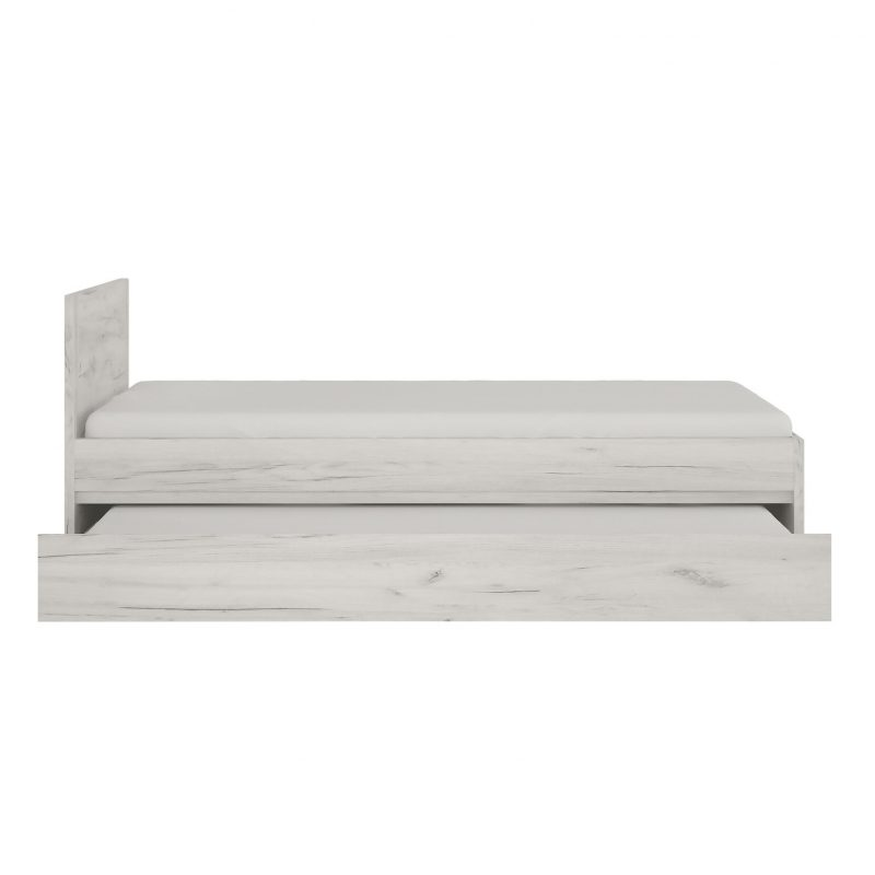 Starlight Kids Single Bed with Underbed Drawer Textured White 2