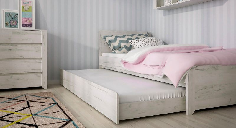 Starlight Kids Single Bed with Underbed Drawer Textured White 6