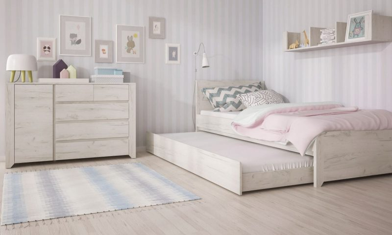 Starlight Kids Single Bed with Underbed Drawer Textured White 8