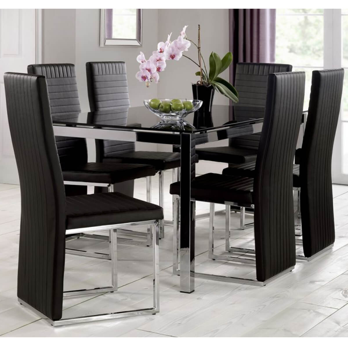 Tempo Dining Set 4 To 6 Seater Black Glass U0026 Black Dining Chairs