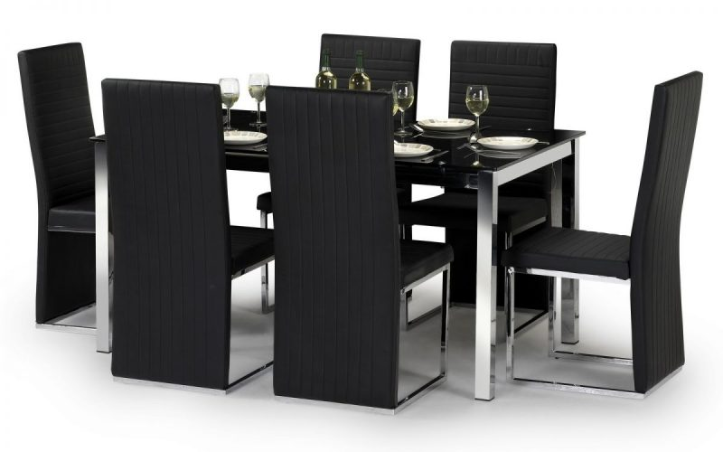 Tempo Dining Set 4 to 6 Seater Black Glass & Black Dining Chairs 1