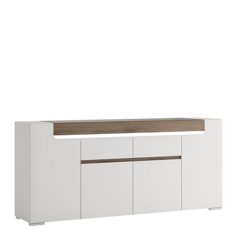 Toronto Gloss White & Oak Sideboard 1