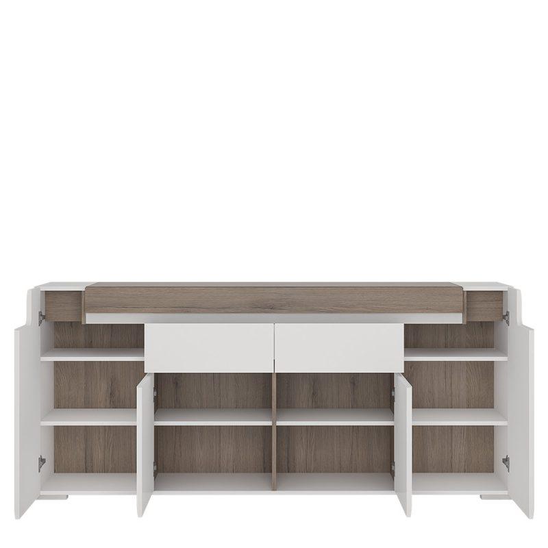 Toronto Gloss White & Oak Sideboard 2