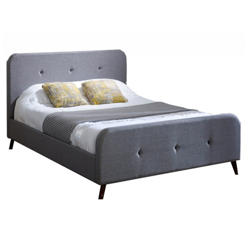 Tucana Scandinavian Bed Frame Grey Fabric