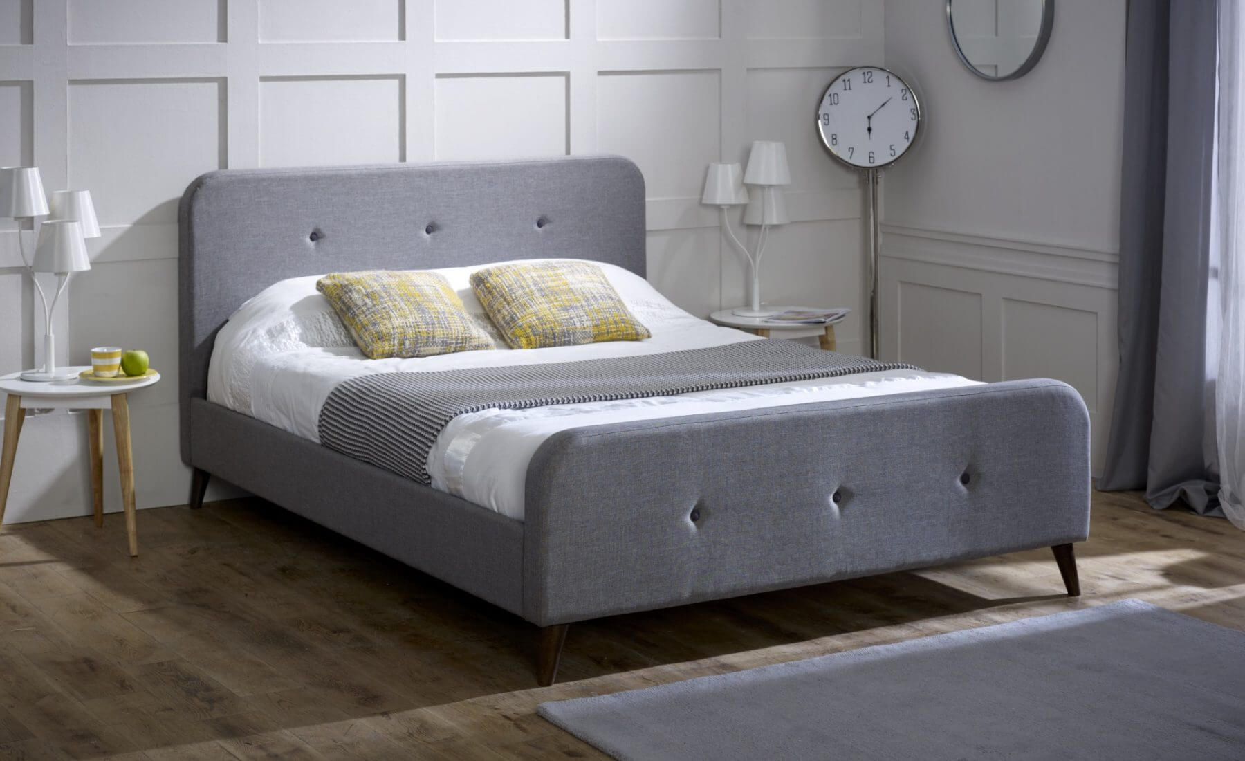 Tucana Scandinavian Bed Frame Grey Fabric Modern Home Fads