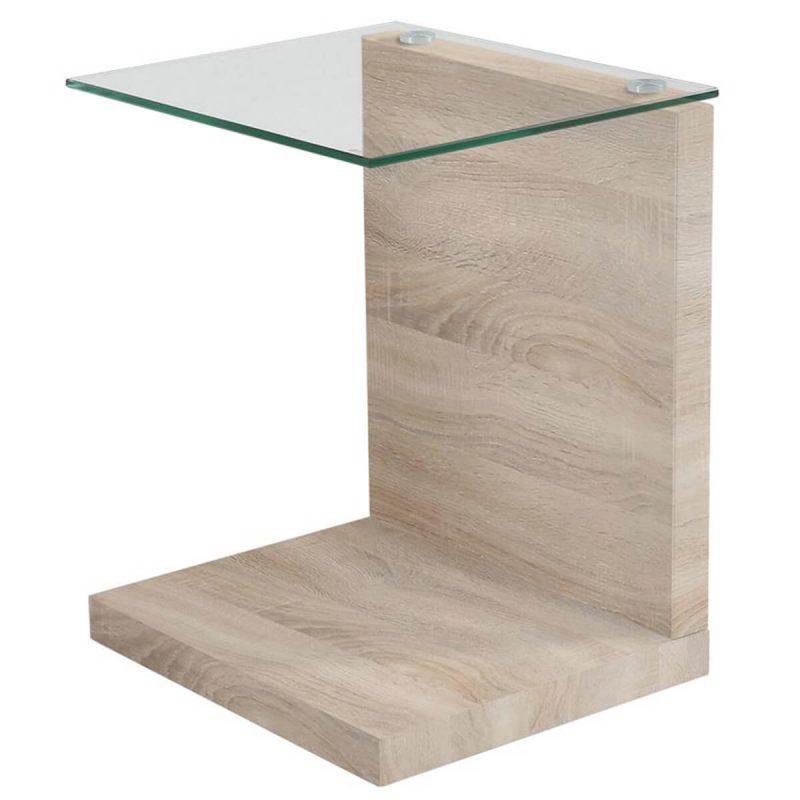 Tupit Lamp Table Oak & Glass Top
