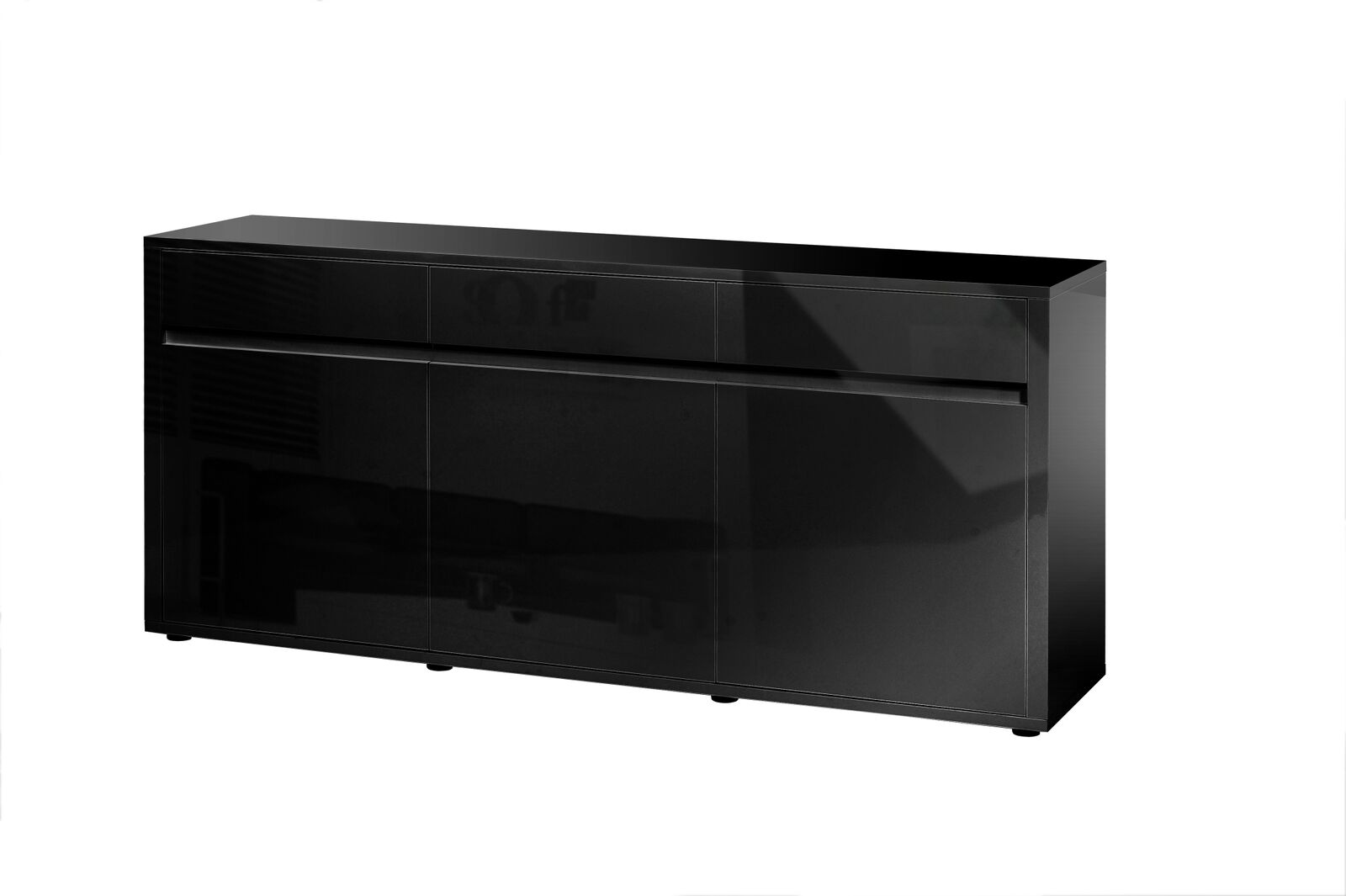Urbana Black High Gloss Sideboard 3 Door 3 Drawer Fads # Meuble Tv Miami