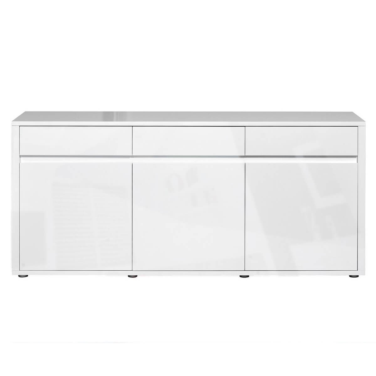 Urbana White High Gloss Sideboard 3 Drawer 3 Door Fads