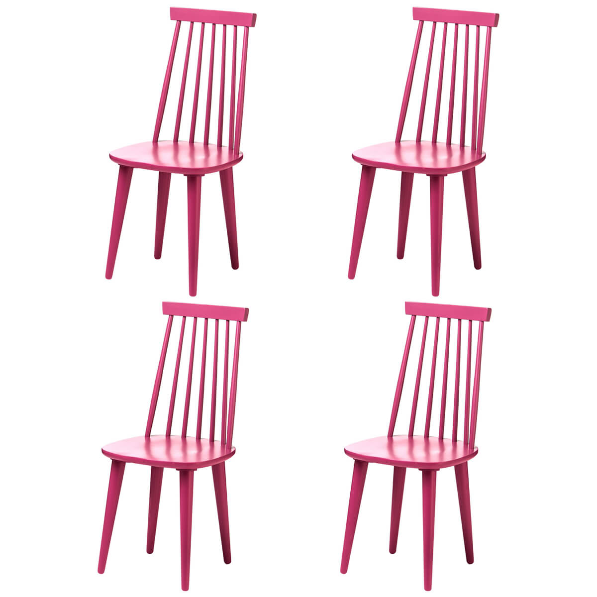 Vermont Herning Multi Colour Dining Chairs Raspberry Pink (Set of 4)
