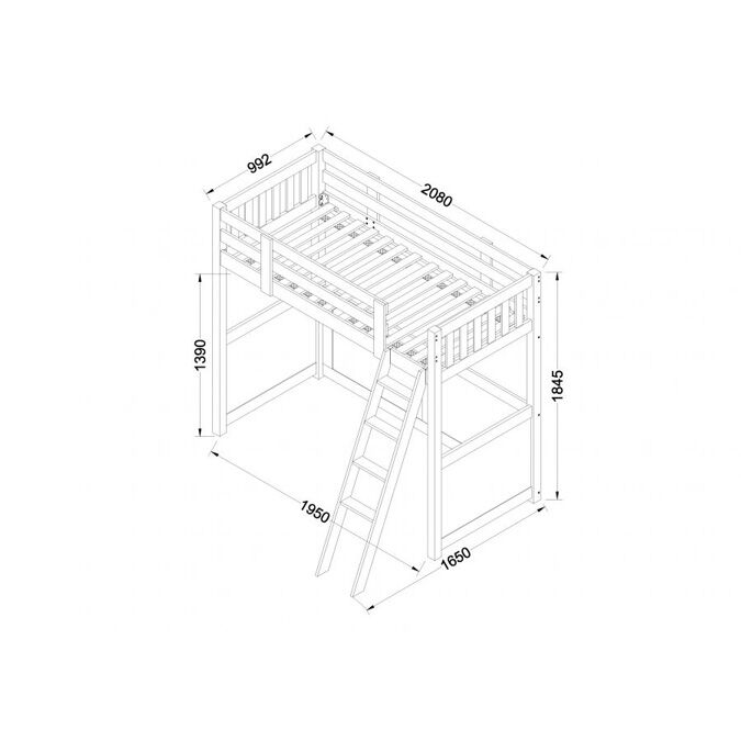 Willow White High Sleeper Dimensions