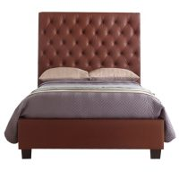 Windsor Bed Frame With Tall Headboard Faux Leather Brown