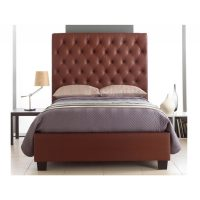 Windsor Bed Frame With Tall Headboard Faux Leather Brown 3