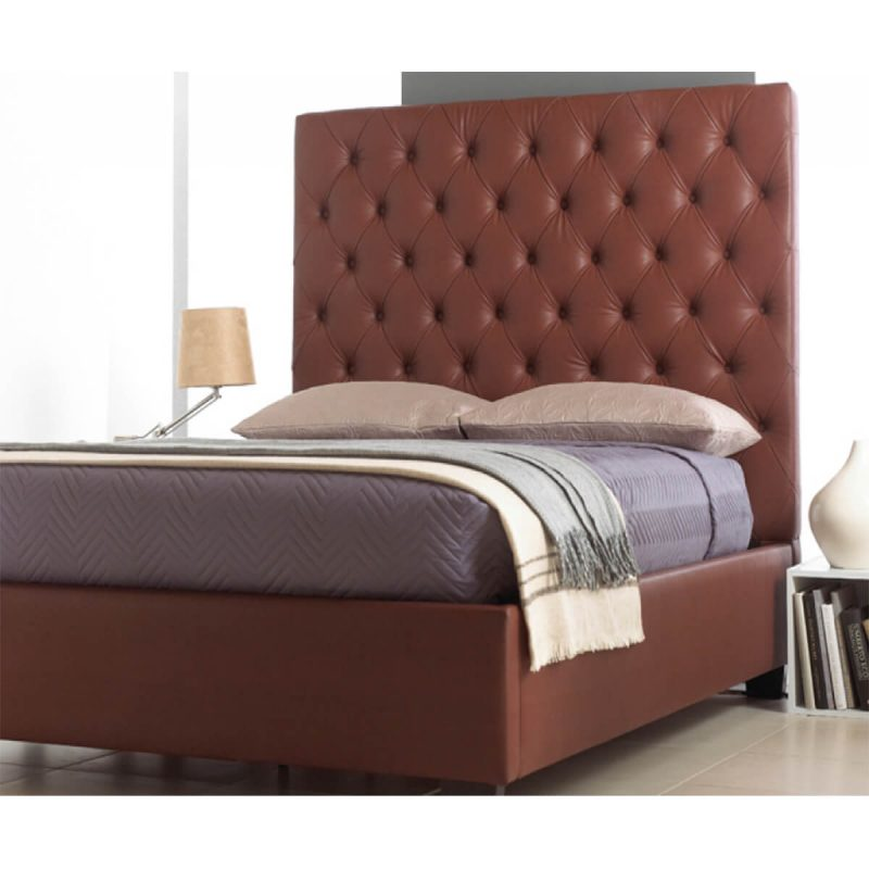 Windsor Bed Frame With Tall Headboard Faux Leather Brown 4