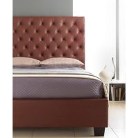 Windsor Bed Frame With Tall Headboard Faux Leather Brown 2