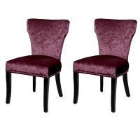 Windsor Dining Chairs Crushed Velvet Grape
