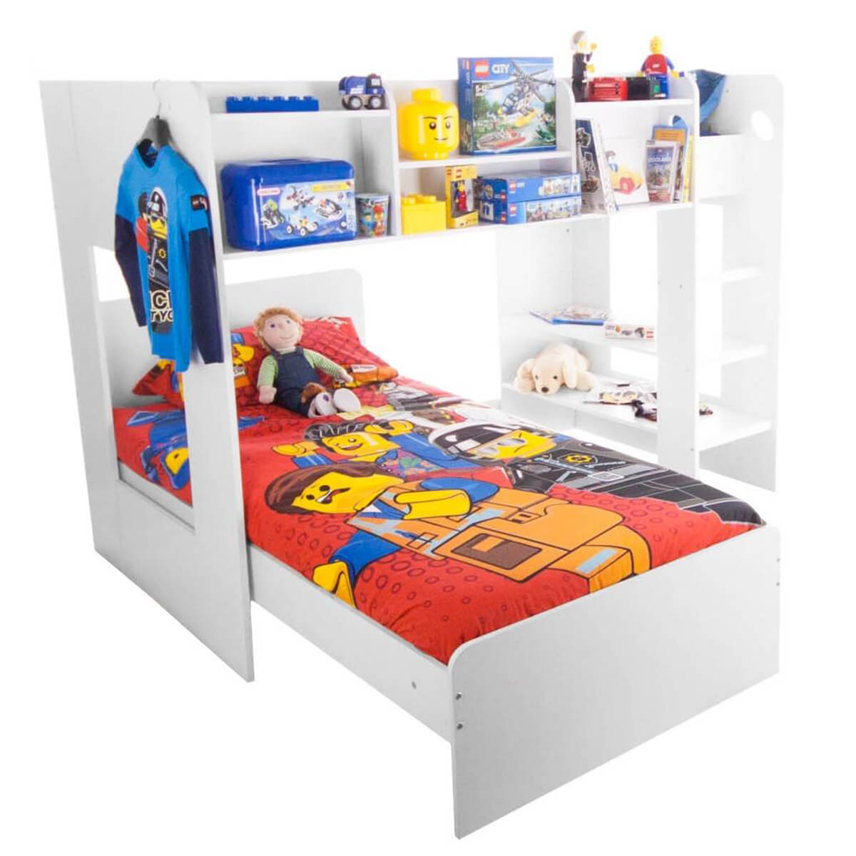 Wizard Bunk Bed With Storage Shelves White