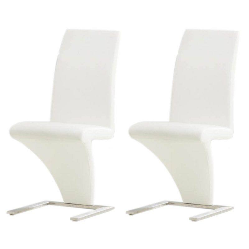 White faux leather z shaped dining chairs dining for Z shaped dining chair