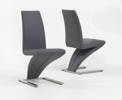 Z Shaped Dining Chairs Grey Faux Leather 2
