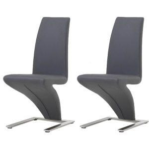 Z Shaped Dining Chairs Grey Faux Leather
