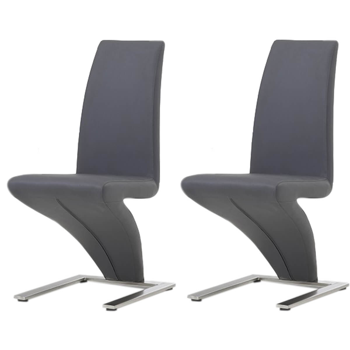 Grey Z Shaped Dining Chairs Faux Leather | Free Delivery | FADS