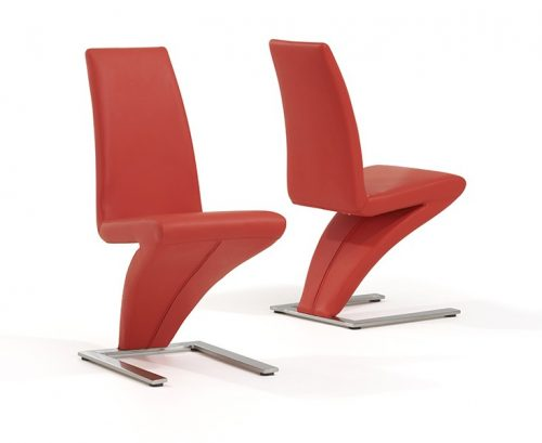 Z Shaped Dining Chairs Red Faux Leather 2