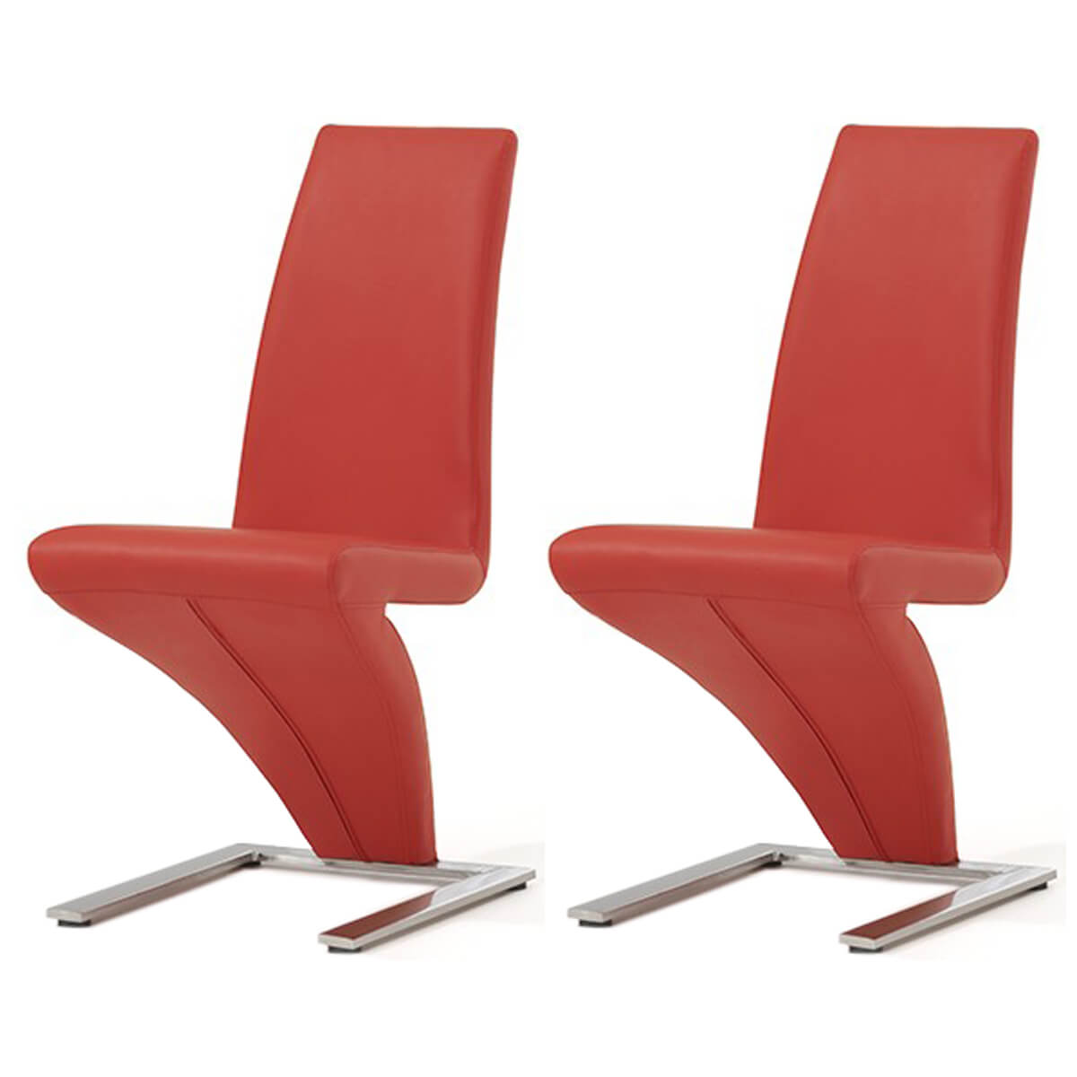 Z Shaped Dining Chairs Red Faux Leather