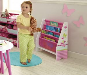 Butterfly Bookcase Pink & White 2