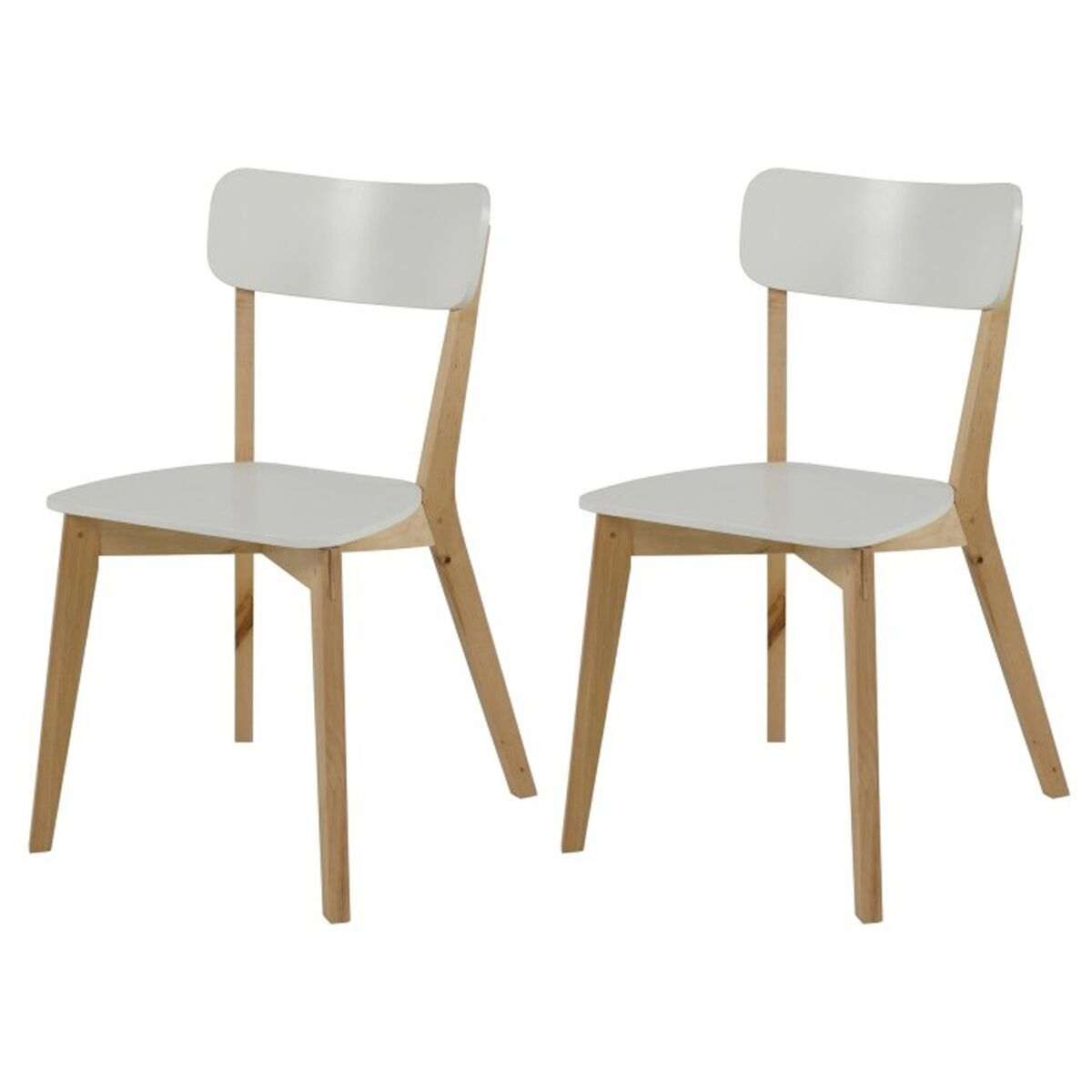 Club Dining Chairs White Lacquered and Birch (Pair)