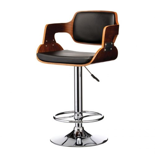 Echo Black Faux Leather & Walnut Bar Stool