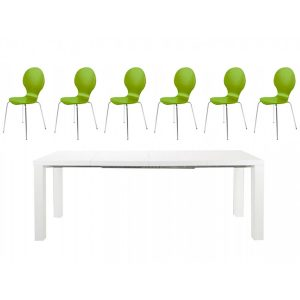 Frances Extending Dining Set 6 to 8 Seater White Gloss with Green Hugo Chairs