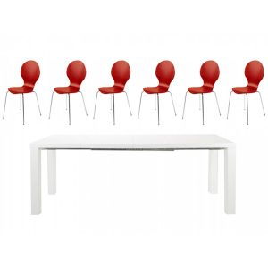 Frances Extending Dining Set 6 to 8 Seater White Gloss with Red Hugo Chairs