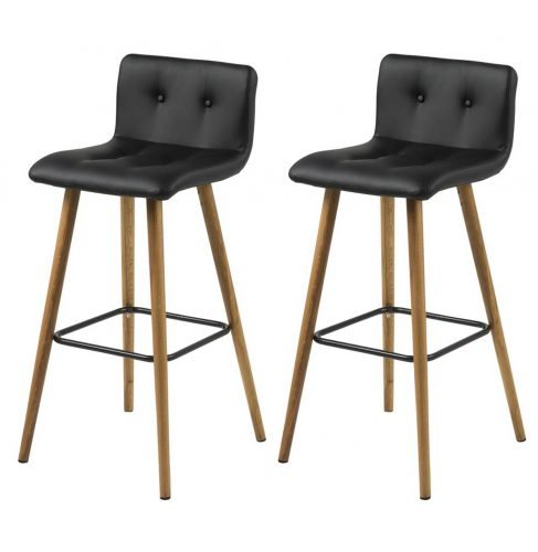 Frida Barstool Black Faux Leather & Oak