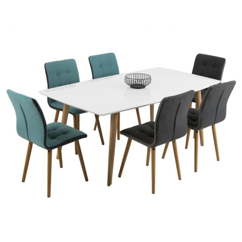 Frida Dark Grey Fabric & Oak Dining Chairs 3