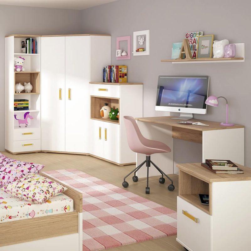 iKids Corner Wardrobe White with Orange Handles 4