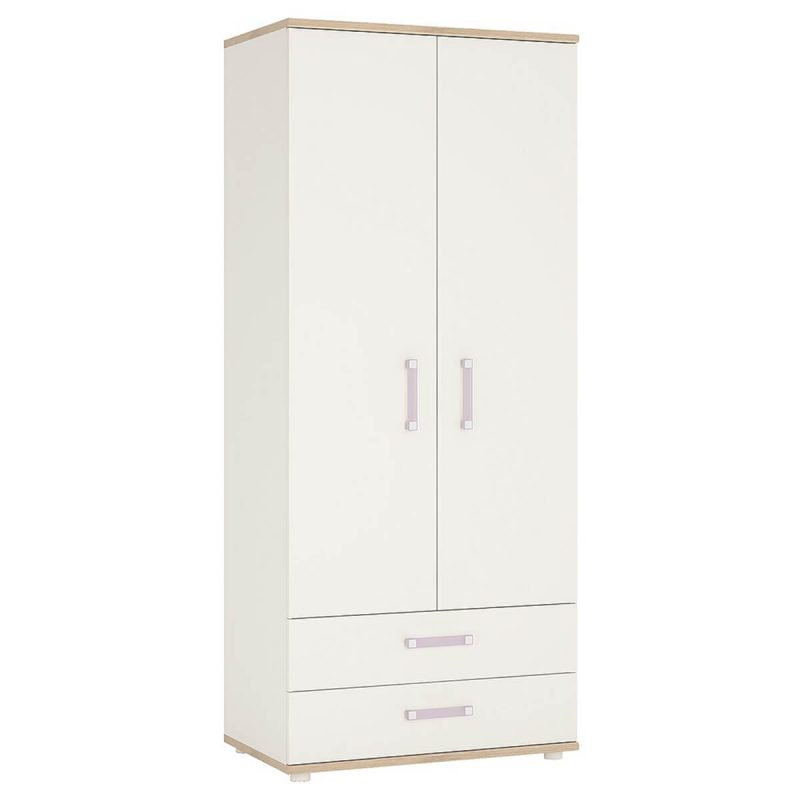 iKids 2 Door 2 Drawer Wardrobe 81cm White with Lilac Coloured Handles