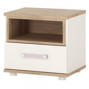 iKids Kids White & Oak Bedside Cabinet Lilac