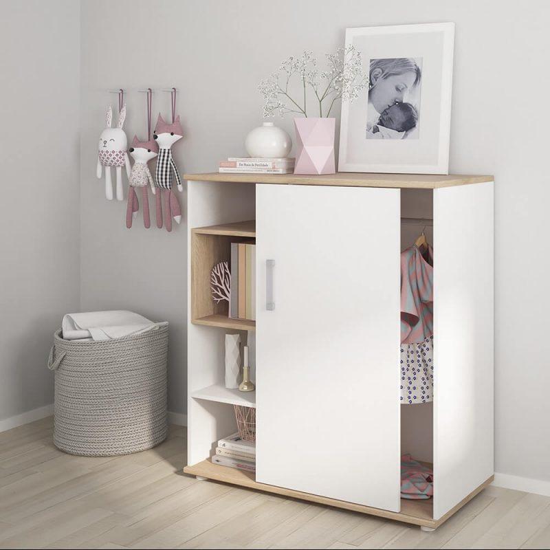 iKids Sliding Door Shelved Cabinet with Opalino Coloured Handles 3