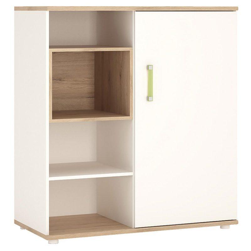 iKids Sliding Door Shelved Cabinet with Lemon Coloured Handles