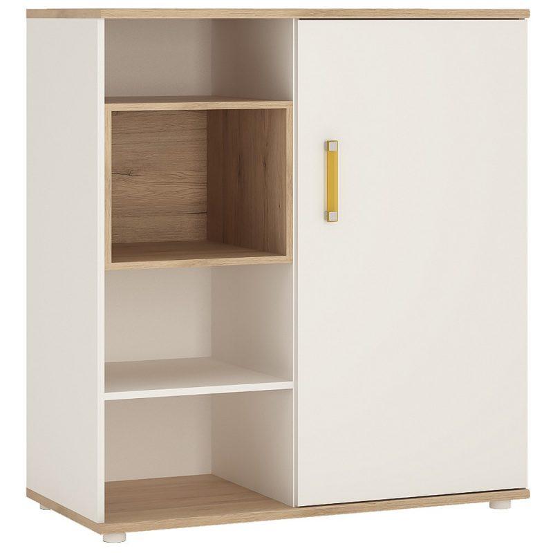 iKids Sliding Door Shelved Cabinet with Orange Coloured Handles