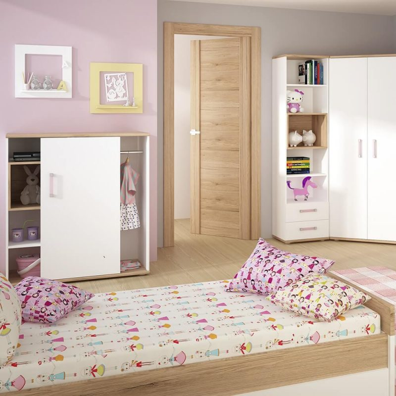 iKids Sliding Door Shelved Cabinet with Lilac Coloured Handles 2