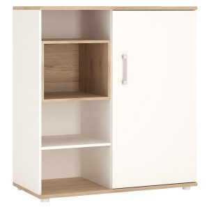 iKids Sliding Door Shelved Cabinet with Lilac Coloured Handles