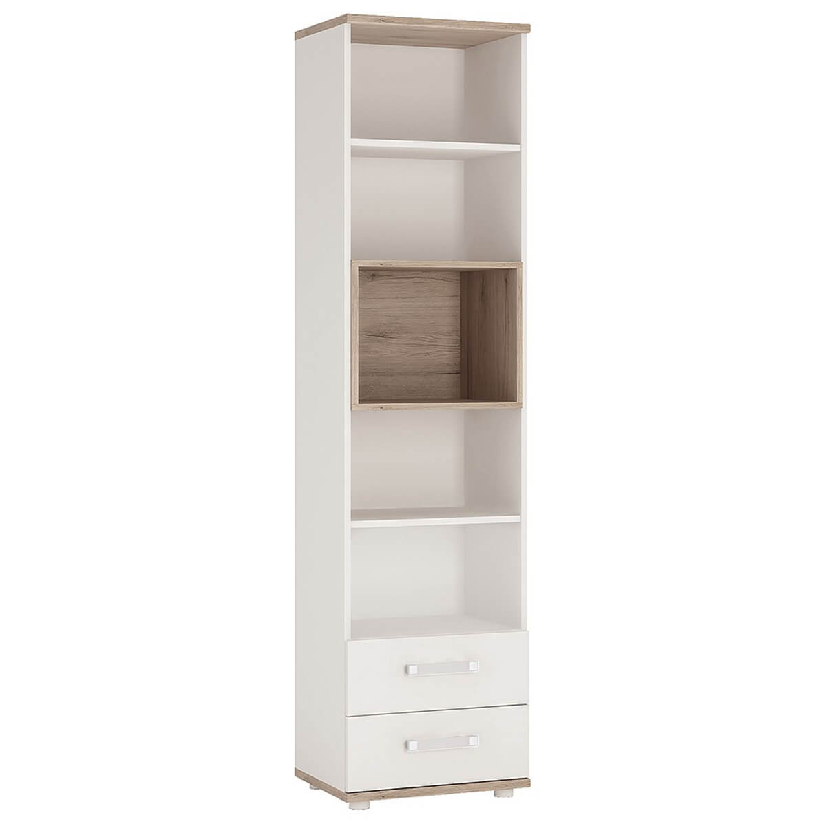 iKids Tall Bookcase 2 Drawer with Opalino Coloured Handles