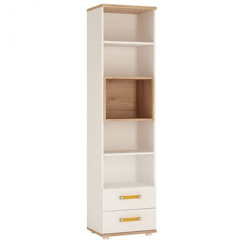 iKids Tall Bookcase 2 Drawer with Orange Coloured Handles