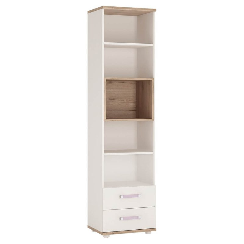 iKids Tall Bookcase 2 Drawer with Lilac Coloured Handles