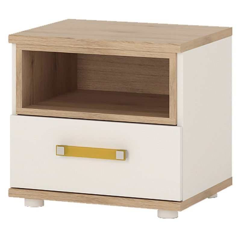 iKids 1 Drawer Bedside Cabinet with Orange Coloured Handle