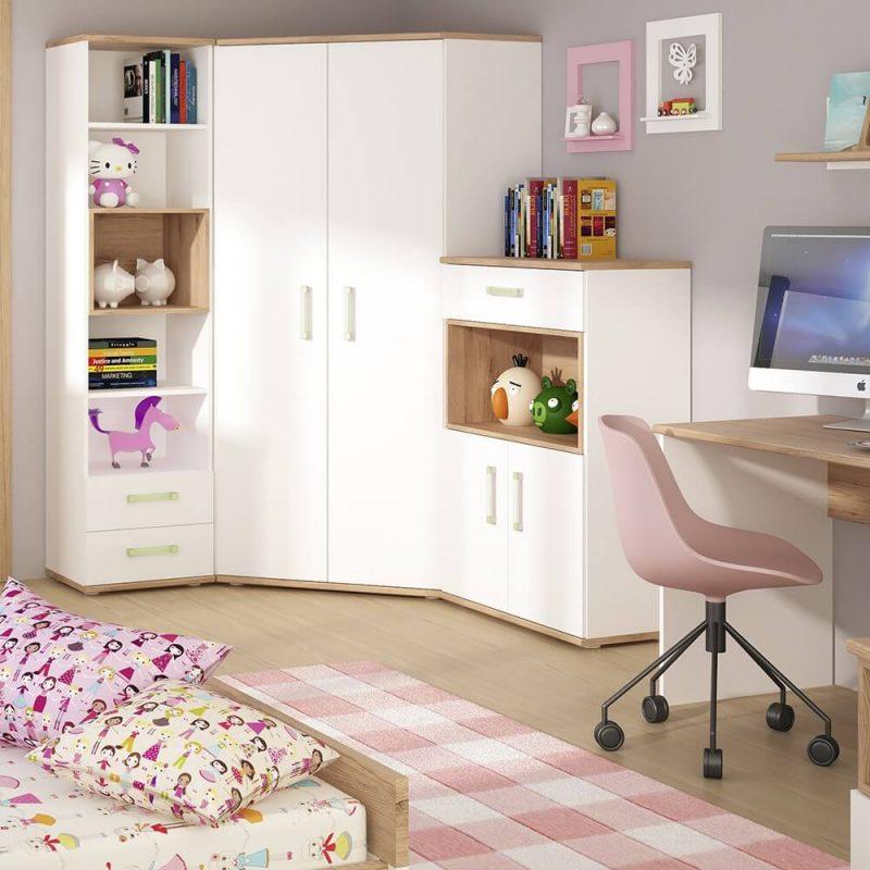 iKids White Gloss Corner Wardrobe with Lemon Handles 4