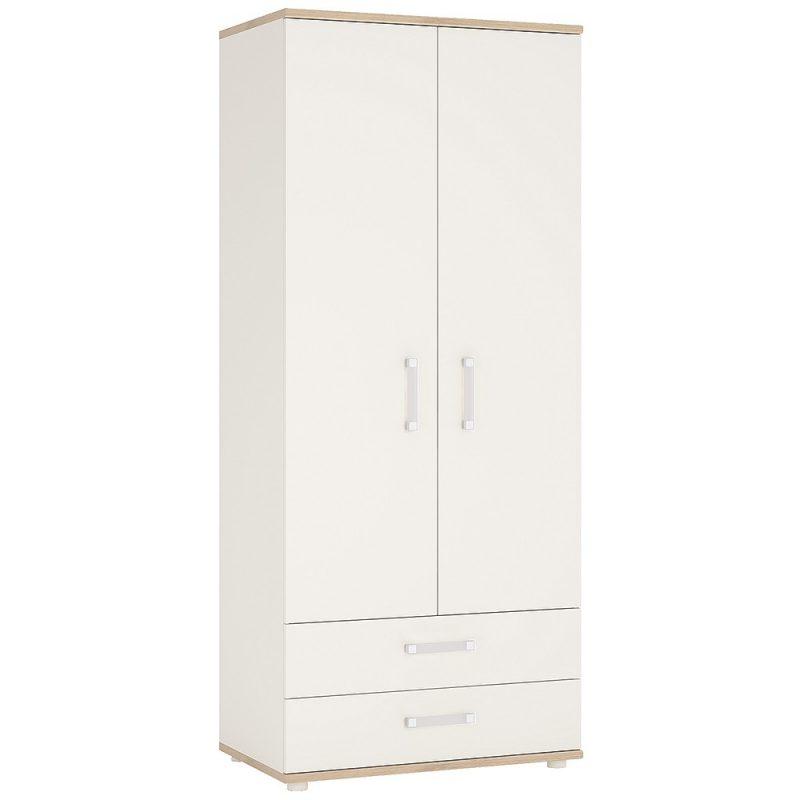 iKids White Gloss Kids Wardrobe Opalino Handles