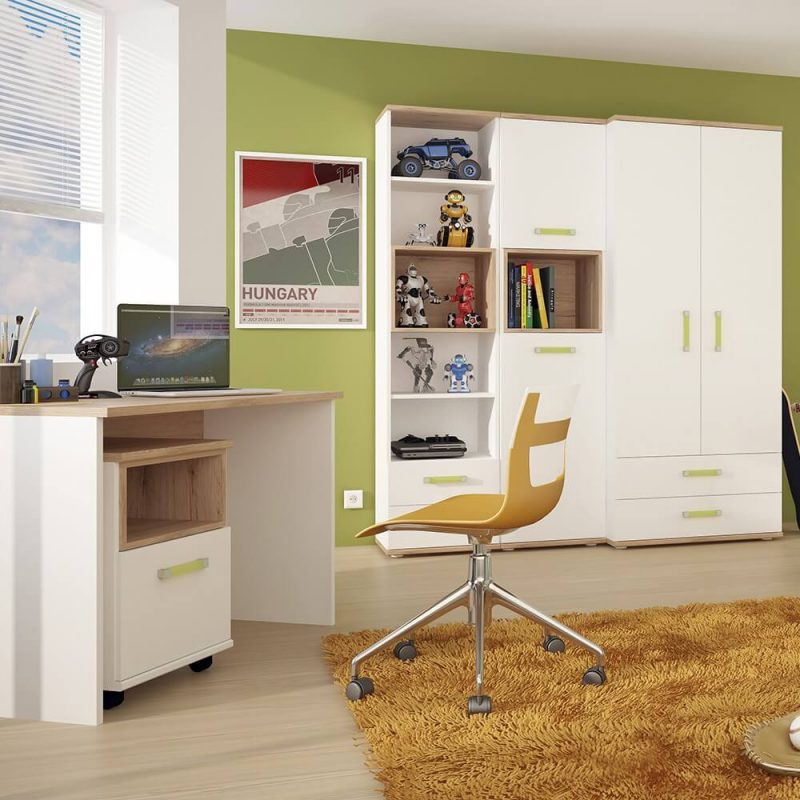 iKids White Wardrobe with Drawers Lemon Handles 4