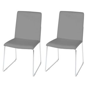 Kitos Light Grey Dining Chairs Faux Leather & Chrome